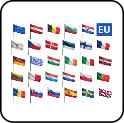 Various flags from across Europe.