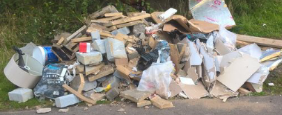 A photo of flytipped waste ready to be cleared.