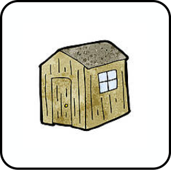 A cartoon picture of an old shed.