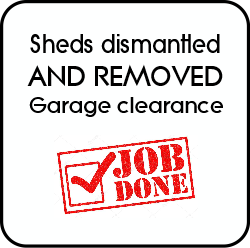 Sheds dismantled and removed, Garages cleared.