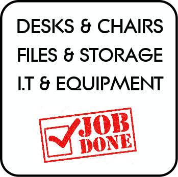 Desks and chairs, files and storage, I.T and equipment.